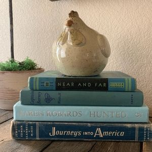 Stack of BLUE books Farmhouse